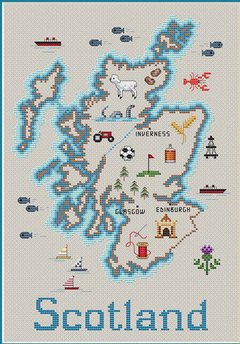 Map of Scotland - Cross Stitch Pattern