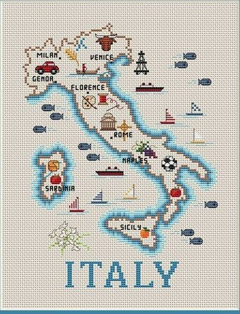 Map of Italy - Cross Stitch Pattern
