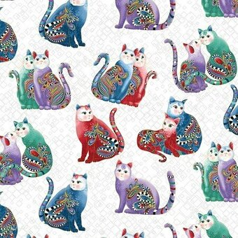 White Playful Cats With Metallic - Fabric Fat Quarter