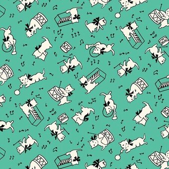 Green Cat 1930s Reproduction Print Fabric Fat Quarter