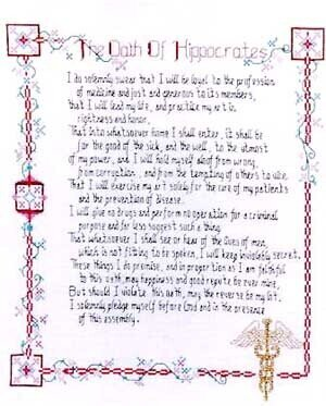 Hippocratic Oath - Cross Stitch Pattern
