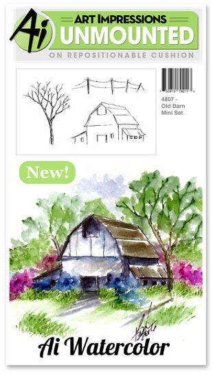 Old Barn Watercolor Mini Stamp Set