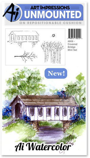 Covered Bridge Watercolor Mini Stamp Set
