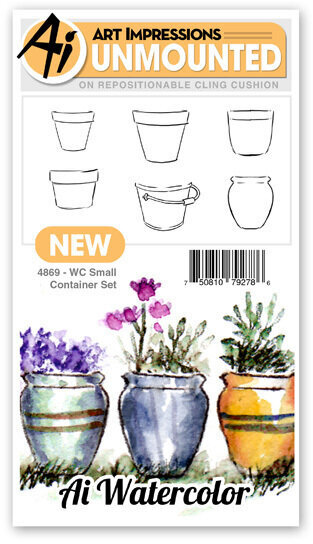 Watercolor Small Container - Unmounted Rubber Stamp