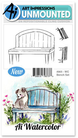 Watercolor Bench - Cling Stamp Set