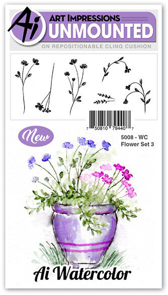 Watercolor Flower Set 3 - Cling Stamp