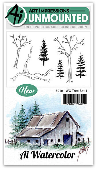 Watercolor Tree Set 1 - Cling Stamp