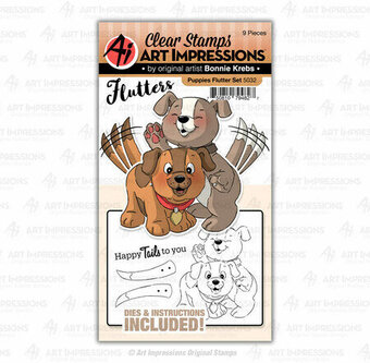 Puppies Flutter - Clear Stamps and Dies