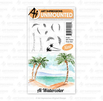 Watercolor Palm Tree - Cling Stamp Set