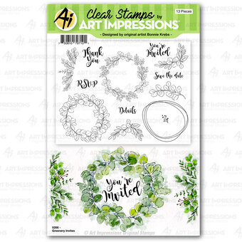 Greenery Invites - Clear Stamp