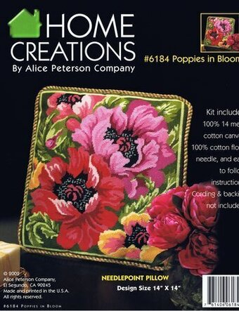 Poppies In Bloom Pillow - Needlepoint Kit