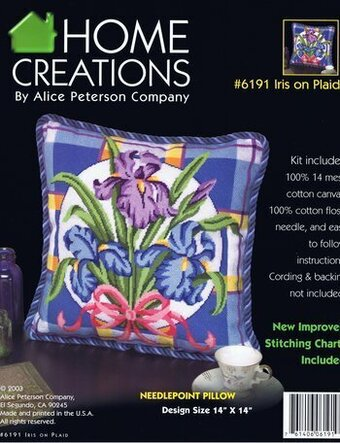 Iris On Plaid Pillow - Needlepoint Kit