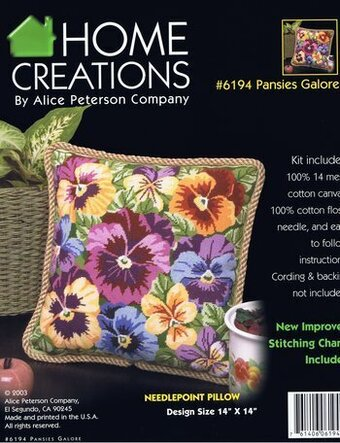 Pansies Galore Pillow - Needlepoint Kit