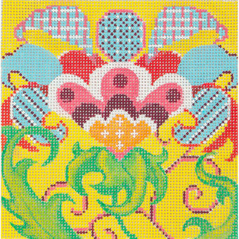 Tulip on Yellow - Painted Needlepoint Canvas