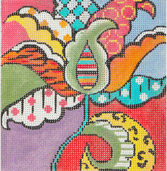 Small Patterned Tulip - Painted Needlepoint Canvas
