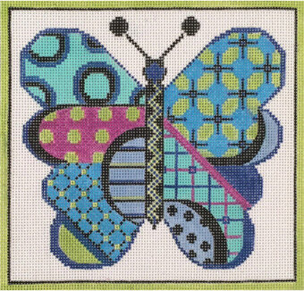 Cool Butterfly - Painted Needlepoint Canvas
