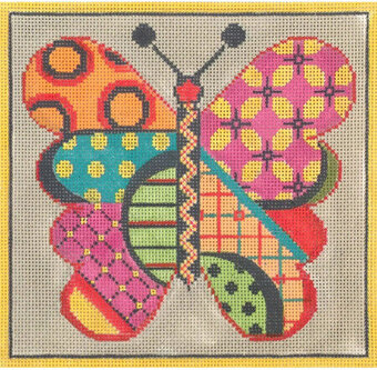Warm Butterfly - Painted Needlepoint Canvas
