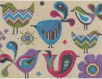 Small Birdies - Painted Needlepoint Canvas