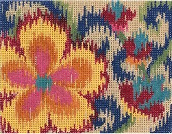 Small Ikat Floral - Painted Needlepoint Canvas