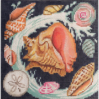 Shells With Waves - Painted Needlepoint Canvas
