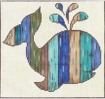 Shabby Whale - Painted Needlepoint Canvas