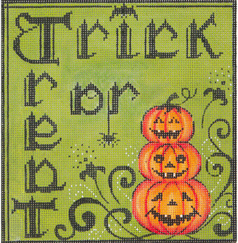 Trick or Treat Halloween - Painted Needlepoint Canvas