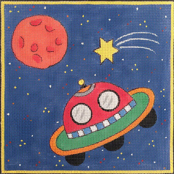 Space Ship - Painted Needlepoint Canvas