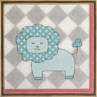 Lion with Grey Background - Painted Needlepoint Canvas