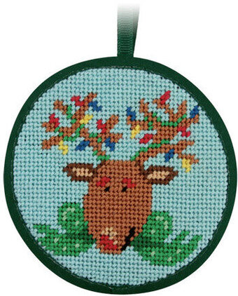 Reindeer Christmas Ornament - Needlepoint Kit