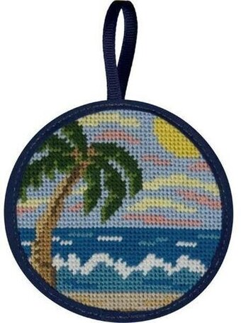 Tropical Beach Christmas Ornament - Needlepoint Kit - Alice Peterson Tropical Beach Christmas Ornament - Needlepoint Kit