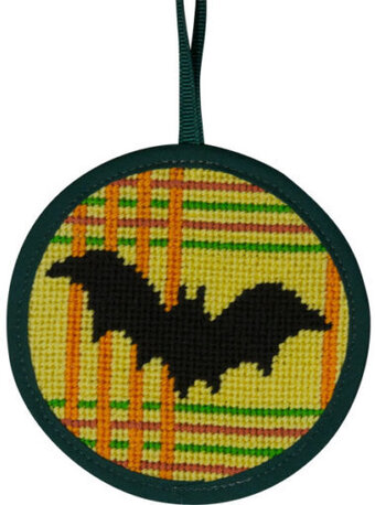 Bat On Plaid Halloween Ornament - Needlepoint Kit