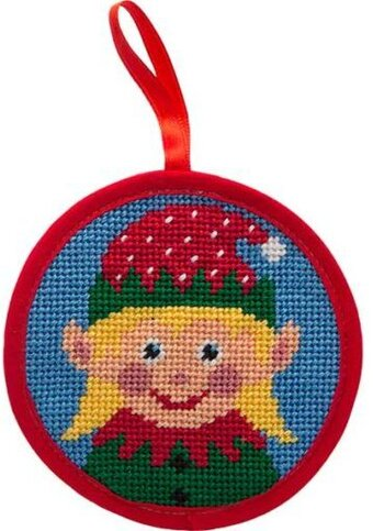 Girl Elf Christmas Ornament - Needlepoint Kit