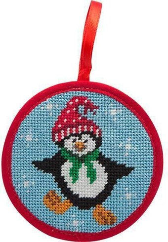 Dancing Penguin Christmas Ornament - Needlepoint Kit