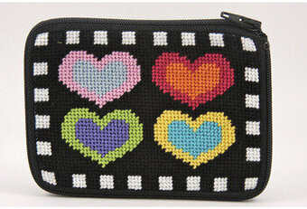 Coin Purse - Hearts On Black - Needlepoint Kit