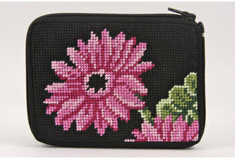 Coin Purse - Pink Gerber Daisy - Needlepoint Kit
