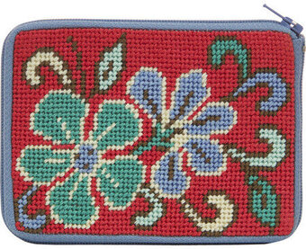 Coin Purse - Red Asian Floral - Needlepoint Kit
