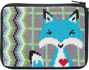 Coin Purse - Blue Fox - Needlepoint Kit