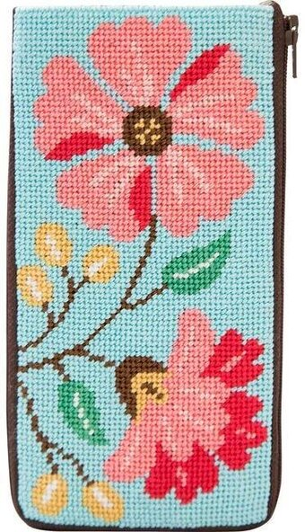 Eyeglass Case - Pink Flowers - Needlepoint Kit