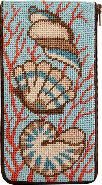 Eyeglass Case - Shells and Coral - Needlepoint Kit