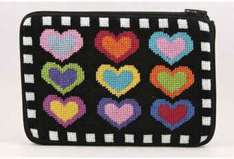 Cosmetic Purse - Hearts On Black - Needlepoint Kit
