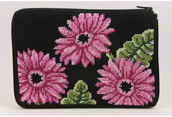 Cosmetic Purse - Pink Gerber Daisies - Needlepoint Kit