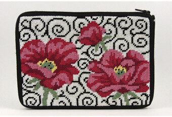 Cosmetic Purse - Poppies On Scroll - Needlepoint Kit