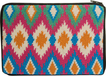 Cosmetic Purse - Ikat - Needlepoint Kit