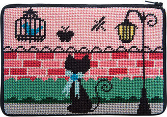 Cosmetic Purse - Kitty Kat - Needlepoint Kit