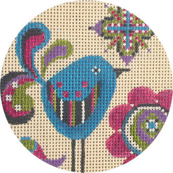 Cool Birdies - Painted Needlepoint Canvas