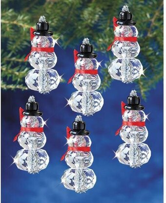 Faceted Elegant Snowmen Beaded Christmas Ornament Kit