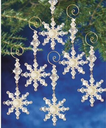 Snow Crystal Danglers Beaded Christmas Ornament Kit