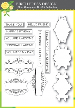 Awesome Ticker Tape Messages - Clear Stamp and Die Set