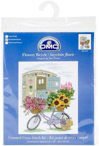Flowery Bicycle - Cross Stitch Kit