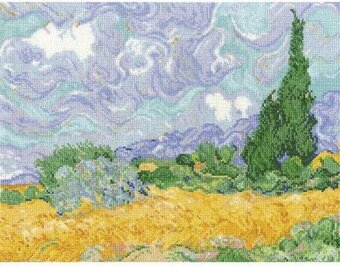 Van Gogh's A Wheatfield With Cypresses - Cross Stitch Kit